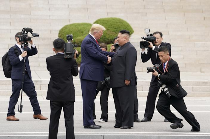 President Donald Trump meets with North Korean leader Kim Jong Un at the demilitarized zone separating the two Koreas, in Panmunjom, South Korea, June 30, 2019. (Kevin Lamarque/Reuters)