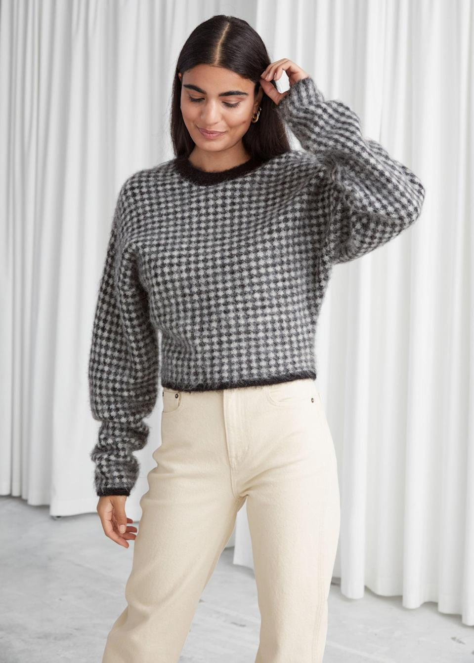 <p>You'll wear this <span>&amp; Other Stories Fuzzy Jacquard Knit Sweater</span> ($59, originally $99) all the time.</p>