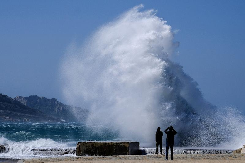 Violent Mistral winds battered southern France with record speeds of up to 138 kilometres (85 miles) per hour
