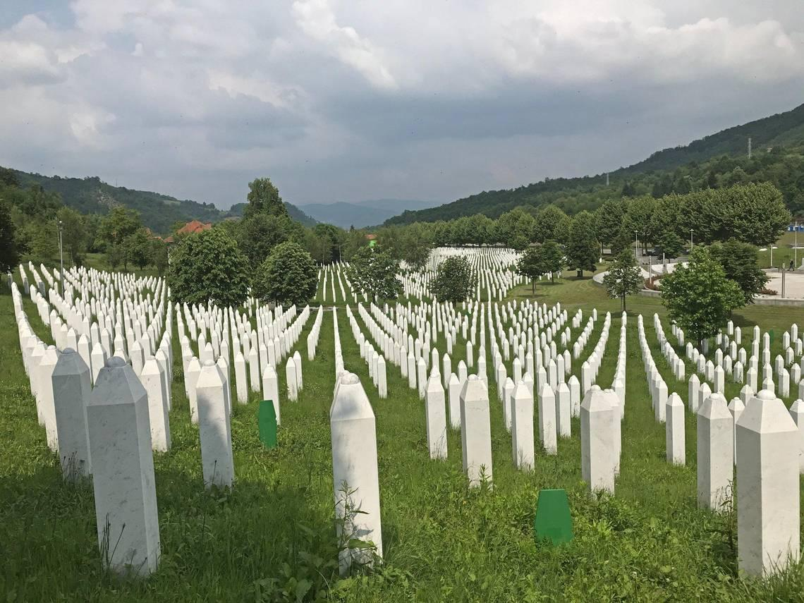 A gravesite at the Srebrenica–Potočari Memorial in Bosnia for all the people, mostly men and boys, killed in July 1995.