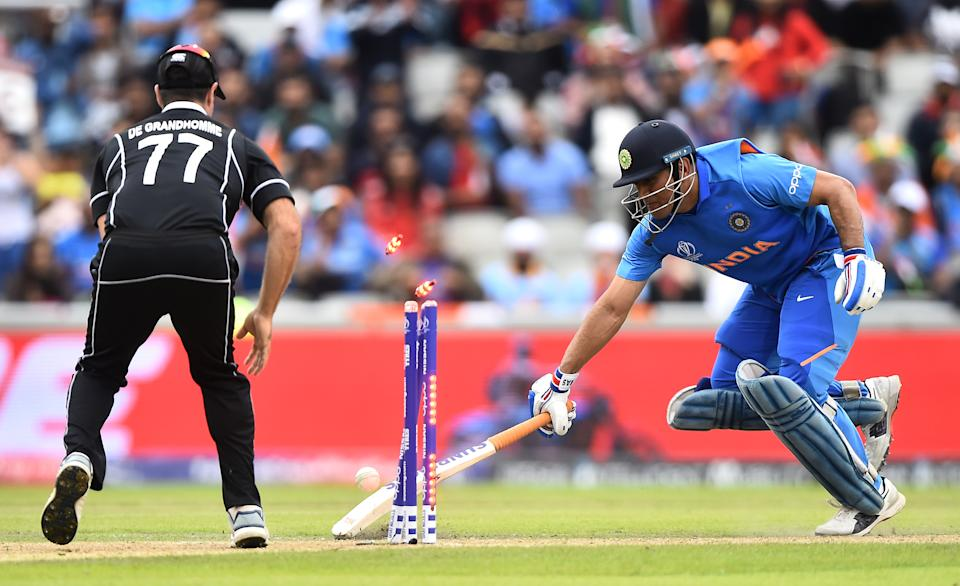 Just when it seemed like MS Dhoni would pull off one of his famous finishing acts to get India into the 2019 World Cup final, the unthinkable happened -- Dhoni was run-out! A peach of a throw from the boundary line was all it took to make the India-New Zealand semifinal, in all likelihood, Dhoni's last World Cup match. Many believed that Dhoni was teary-eyed while making his way back to the pavilion.