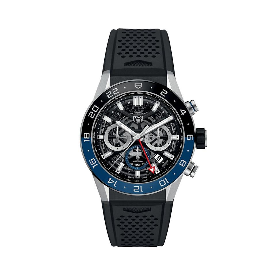 """<p>GMT Chronograph </p><p><a class=""""link rapid-noclick-resp"""" href=""""https://go.redirectingat.com?id=127X1599956&url=https%3A%2F%2Fwww.mrporter.com%2Fen-gb%2Fmens%2Fproduct%2Ftag-heuer%2Fluxury-watches%2Fchronograph-watches%2Fcarrera-gmt-automatic-chronograph-45mm-stainless-steel-and-rubber-watch-ref-no-cbg2a1zft6157%2F3983529958723203&sref=https%3A%2F%2Fwww.menshealth.com%2Fuk%2Fstyle%2Fwatches%2Fg34617551%2Ftag-heuer-watches-men%2F"""" rel=""""nofollow noopener"""" target=""""_blank"""" data-ylk=""""slk:SHOP"""">SHOP</a></p><p>This Carrera adds a GMT function, plus a black and blue bezel – the better to see immediately whether it's day or night in your home time zone. Carrera purists might balk at the skeleton dial but the design across the watch is so harmonious it deserves to be taken on its own merits.</p><p>£4,800; <a href=""""https://www.mrporter.com/en-gb/mens/product/tag-heuer/luxury-watches/chronograph-watches/carrera-gmt-automatic-chronograph-45mm-stainless-steel-and-rubber-watch-ref-no-cbg2a1zft6157/3983529958723203"""" rel=""""nofollow noopener"""" target=""""_blank"""" data-ylk=""""slk:mrporter.com"""" class=""""link rapid-noclick-resp"""">mrporter.com</a></p>"""