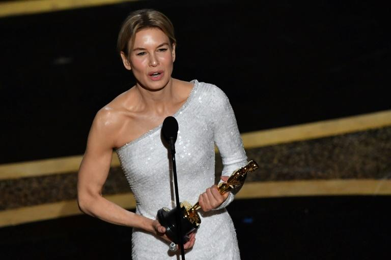 """US actress Renee Zellweger won her second Oscar for her portrayal of Judy Garland in """"Judy"""""""