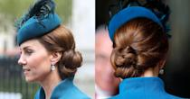 "<p>The low side bun Middleton wore for an <a href=""https://www.popsugar.com/celebrity/Prince-Harry-Kate-Middleton-Anzac-Day-Service-2019-46069971"" class=""link rapid-noclick-resp"" rel=""nofollow noopener"" target=""_blank"" data-ylk=""slk:Anzac day service"">Anzac day service</a>included a little bit of everything. Look closely and you'll see simple plaits, the starting of a loose French braid, and an intricate combinations of loops, twists, and folds that kept her hair off her neck to make room for the structured collar of her coat. </p>"