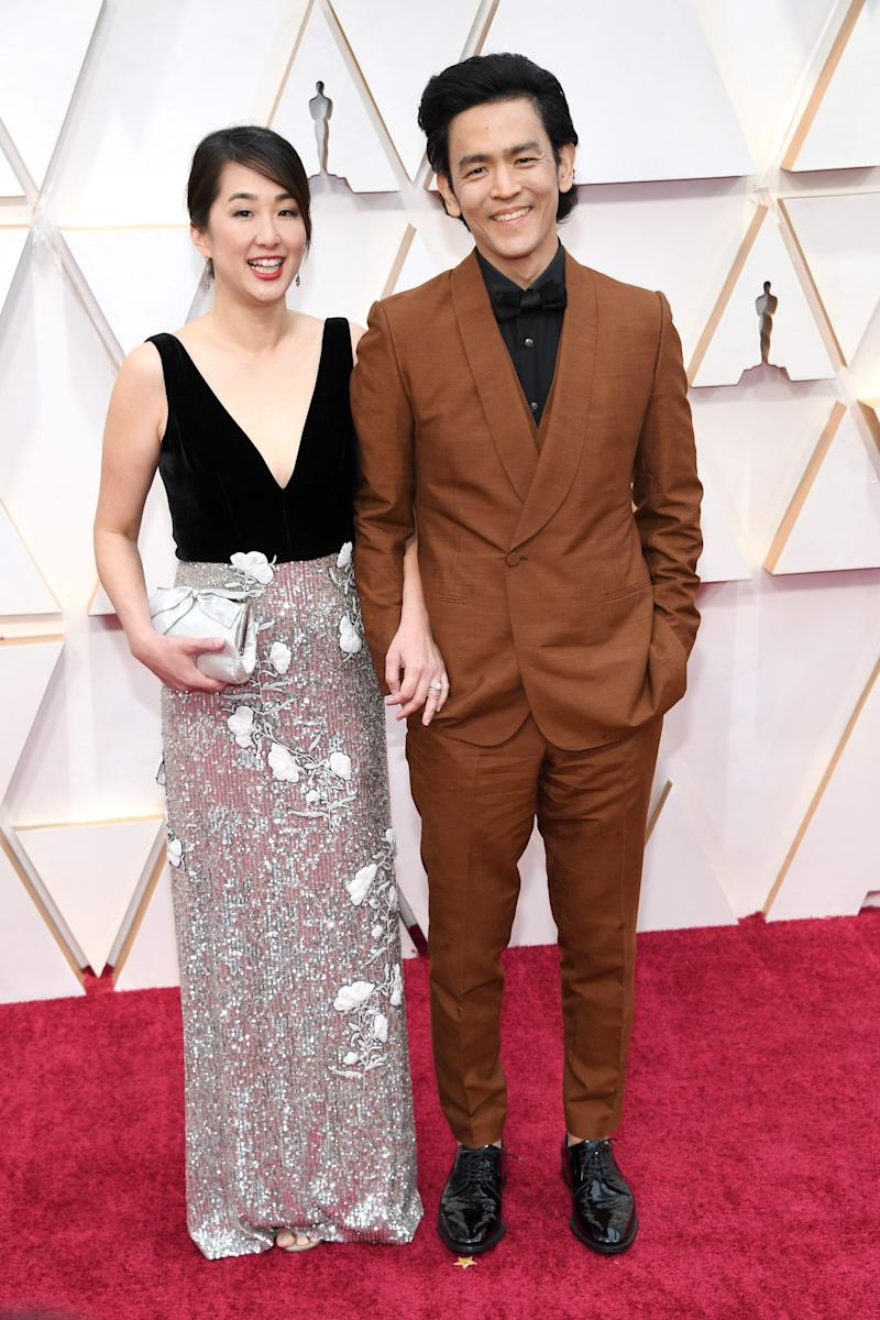 Cute couple alert! He could have gone for a charcoal grey suit if he really wanted to let her shine, but they do look very sweet.
