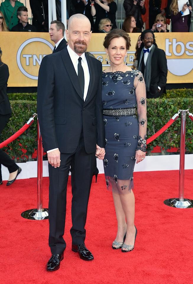 Bryan Cranston and Robin Dearden arrive at the 19th Annual Screen Actors Guild Awards at the Shrine Auditorium in Los Angeles, CA on January 27, 2013.