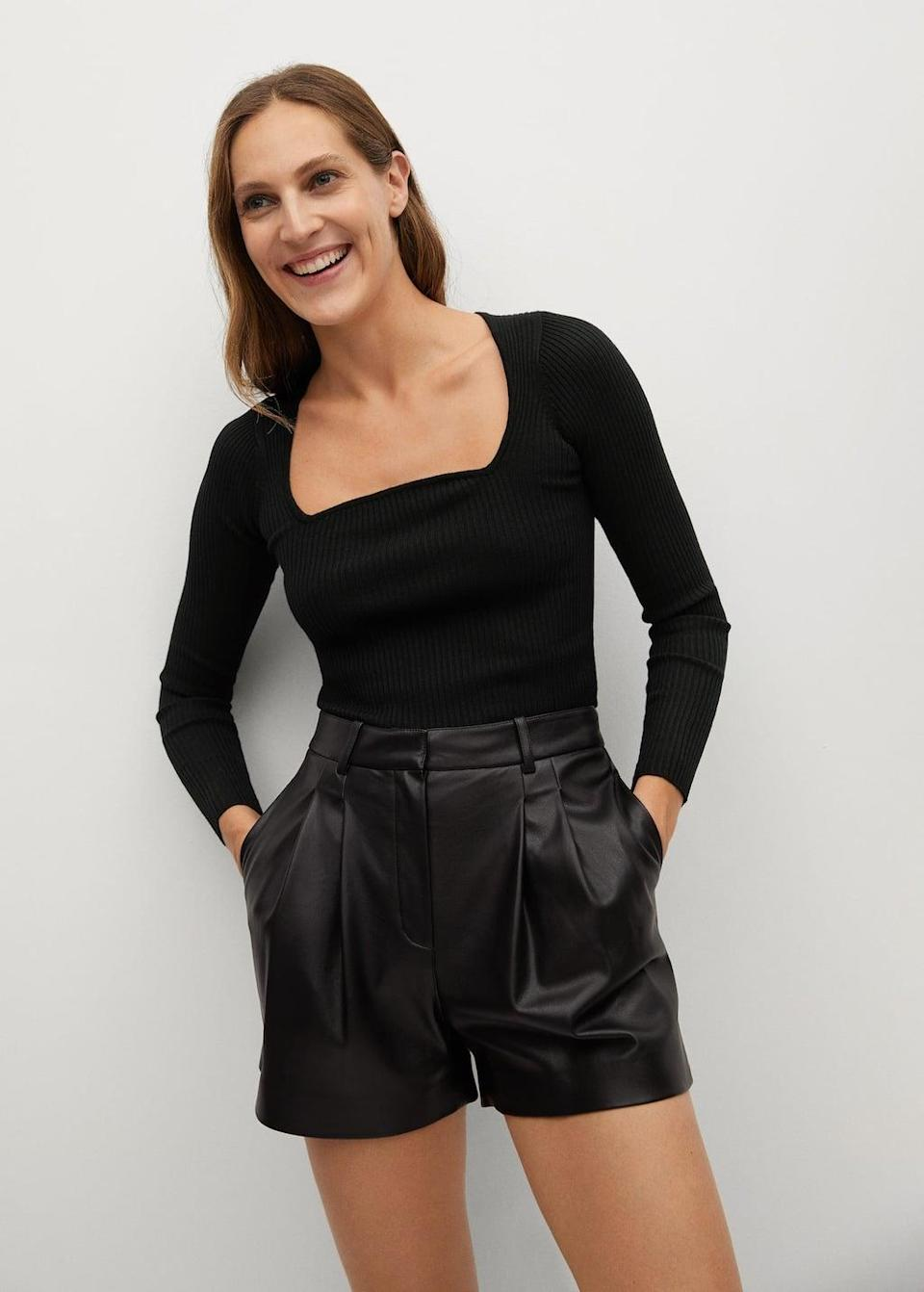 <p>Rock an edgy monochrome look by pairing this <span>Mango Ribbed Fine-knit Sweater</span> ($40) with black leather shorts.</p>