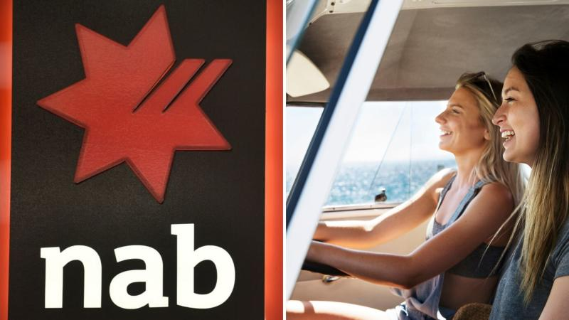 NAB bank logo, Australians in car enjoying annual leave. Images: Getty