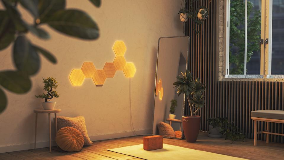 Nanoleaf Elements Wood-Look Hexagon Panels - Smarter Kit - 7 Panels - available at Best Buy Canada.