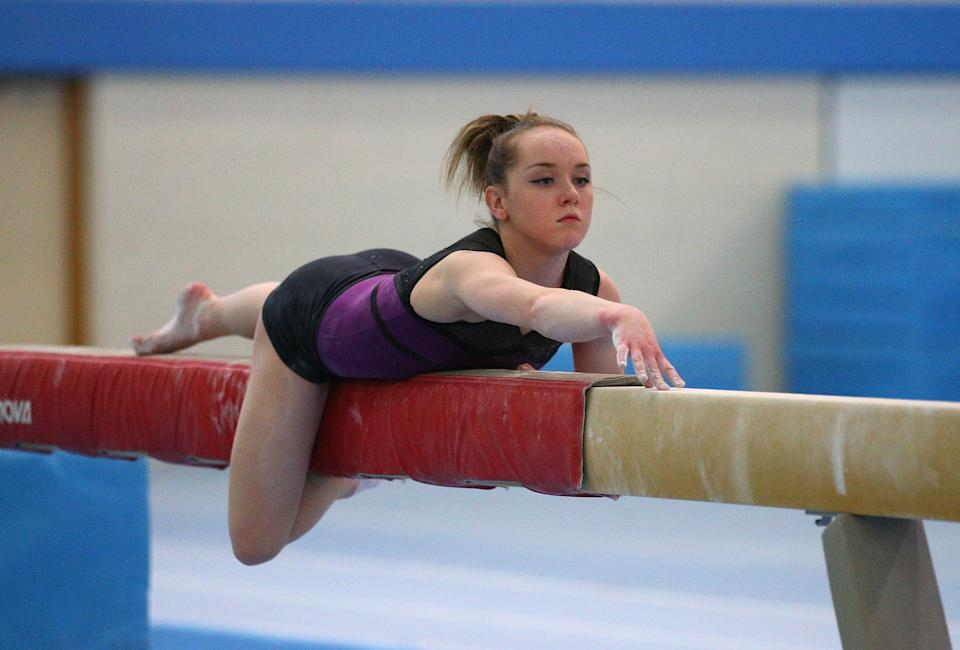 LILLESHALL, ENGLAND - APRIL 29: Amy Tinkler of the British Gymnastics Team during a training session at Lilleshall National Sports Centre on April 29, 2016 in Shropshire, England. (Photo by Alex Livesey/Getty Images)