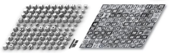 DNA 'bricks' created 3D letter and number shapes as seen through computer modeling (left) and microscopy images (right).