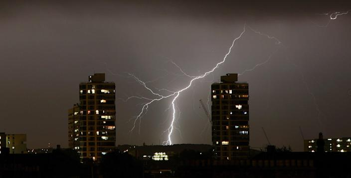 Thunderstorms are forecast to begin Wednesday evening and last until Saturday morning across southern England and Wales (Getty Images)