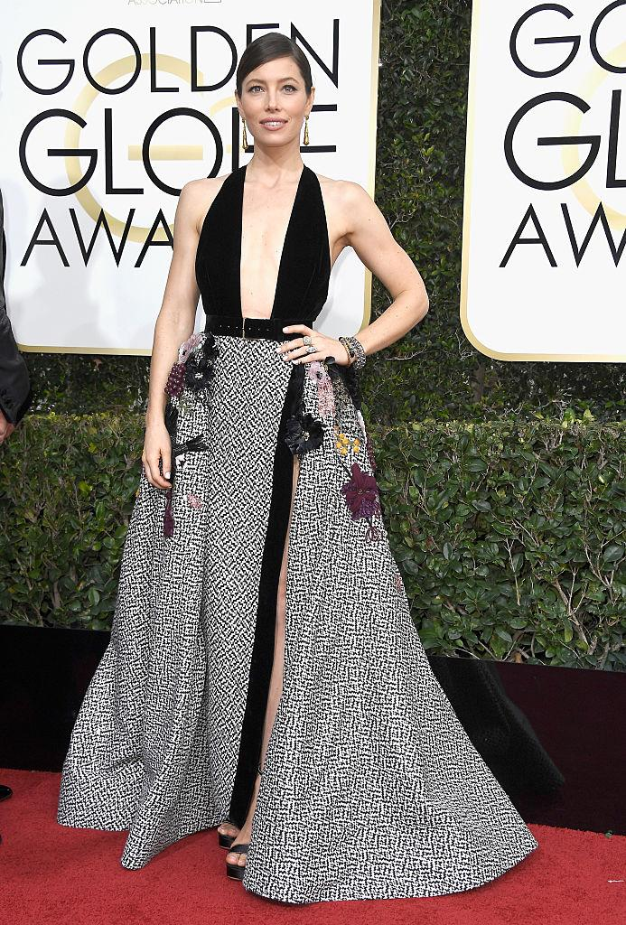 Jessica Biel in Elie Saab. (Photo: Getty Images)