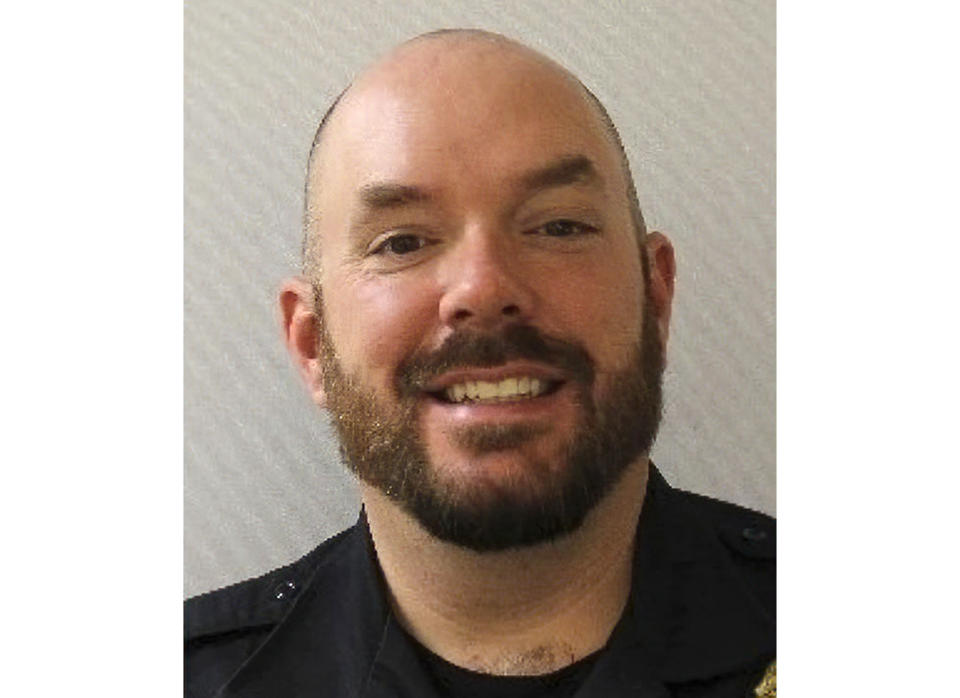 """This image provided by the U.S. Capitol Police shows U.S. Capitol Police officer William """"Billy"""" Evans, an 18-year veteran who was a member of the department's first responders unit. Evans was killed Friday, April 2, 2021, after a man rammed a car into two officers at a barricade outside the U.S. Capitol and then emerged wielding a knife. (U.S. Capitol Police via AP)"""