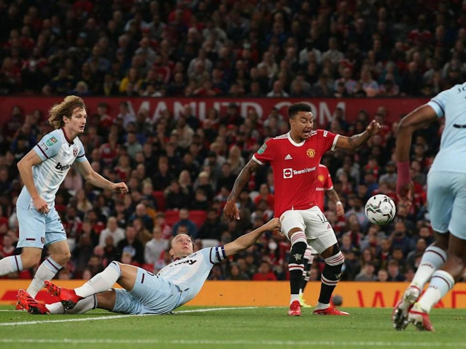 Lingard went down under a challenge from Noble during West Ham's Carabao Cup win (Manchester United via Getty Imag)