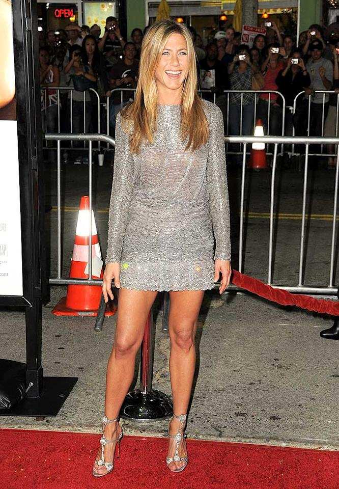 "September: Jennifer Aniston   Angelina's arch nemesis might have even caught Brad Pitt's eye by rocking this Valentino couture tunic and bejeweled Christian Louboutin stilettos at the LA premiere of ""Love Happens."" Jordan Strauss/<a href=""http://www.filmmagic.com/"" target=""new"">FilmMagic.com</a> - September 15, 2009"