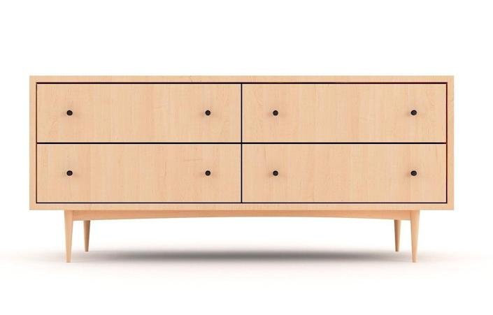 """Available in four wood finishes—white maple, American walnut, natural bamboo, and amber-hued bamboo—Medley's Scandinavian-inspired Atten dresser is a masterpiece in sustainable design. Designed with a modern touch and push technology, the piece isn't as simple as it looks. $4095, Medley. <a href=""""https://medleyhome.com/collections/storage/products/atten-4-drawer-wide-dresser"""" rel=""""nofollow noopener"""" target=""""_blank"""" data-ylk=""""slk:Get it now!"""" class=""""link rapid-noclick-resp"""">Get it now!</a>"""