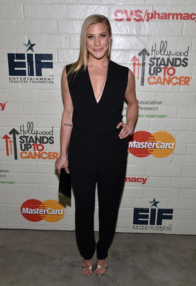 EXCLUSIVE CONTENT - Katee Sackhoff arrives at Hollywood Stands Up To Cancer presented by the Entertainment Industry Foundation at the Book Bindery on Wednesday, Jan. 28, 2015, in Culver City, Calif. (Photo by John Shearer/Invision for the Entertainment Industry Foundation/AP Images)