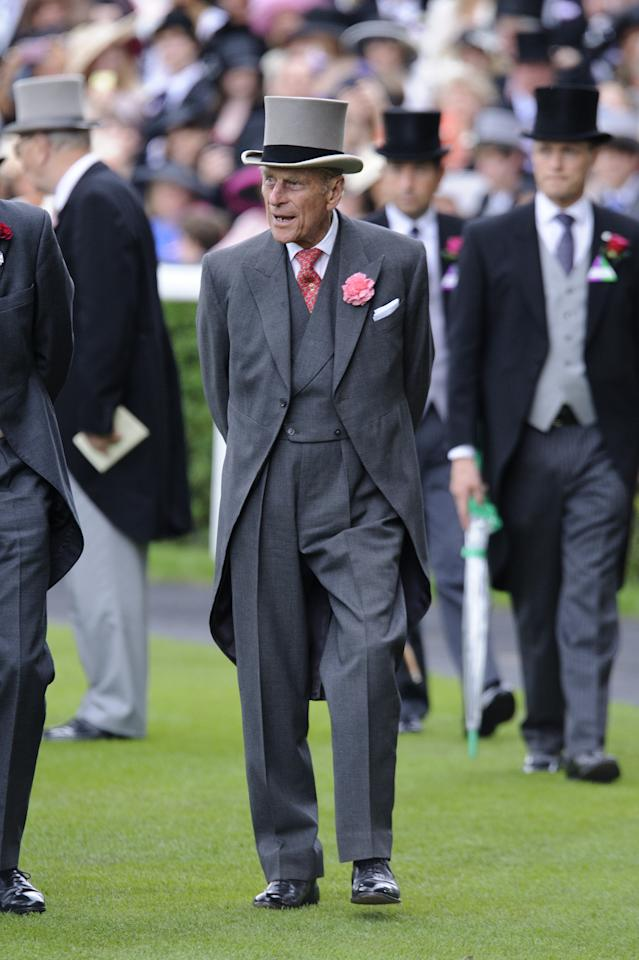 ASCOT, ENGLAND - JUNE 23:  Prince Philip attends day five of Royal Ascot at Ascot Racecourse on June 23, 2012 in Ascot, England.  (Photo by Ben Pruchnie/Getty Images)