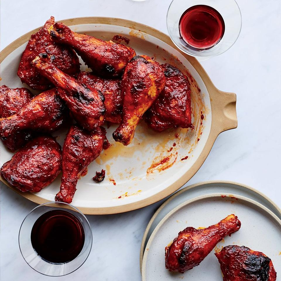 """<p>Leftover red wine gets repurposed into a sweet, sticky and luscious barbecue sauce in this easy chicken recipe from Food & Wine's Justin Chapple.</p> <p> <a href=""""https://www.foodandwine.com/recipes/red-wine-bbq-chicken"""">Go to Recipe</a></p>"""