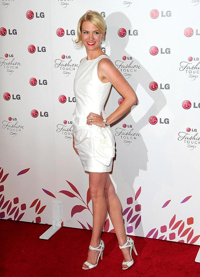 """""""Mad Men's"""" January Jones was ice cool in a white Alice + Olivia sheath and matching Jerome C. Rousseau sandals. Jordan Strauss/<a href=""""http://www.wireimage.com"""" target=""""new"""">WireImage.com</a> - May 24, 2010"""