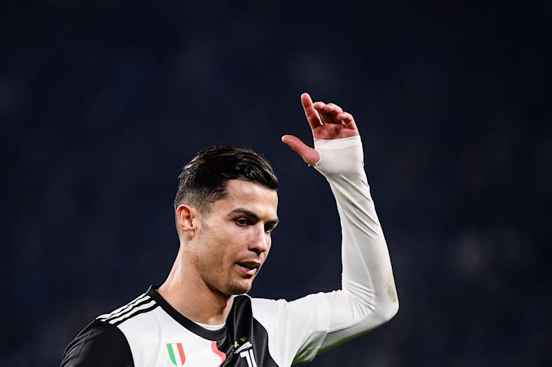 TOPSHOT - Juventus' Portuguese forward Cristiano Ronaldo reacts as he leaves the pitch to be substituted during the Italian Serie A football match Juventus vs AC Milan on November 10, 2019 at the Juventus Allianz stadium in Turin. (Photo by Marco Bertorello / AFP) (Photo by MARCO BERTORELLO/AFP via Getty Images)