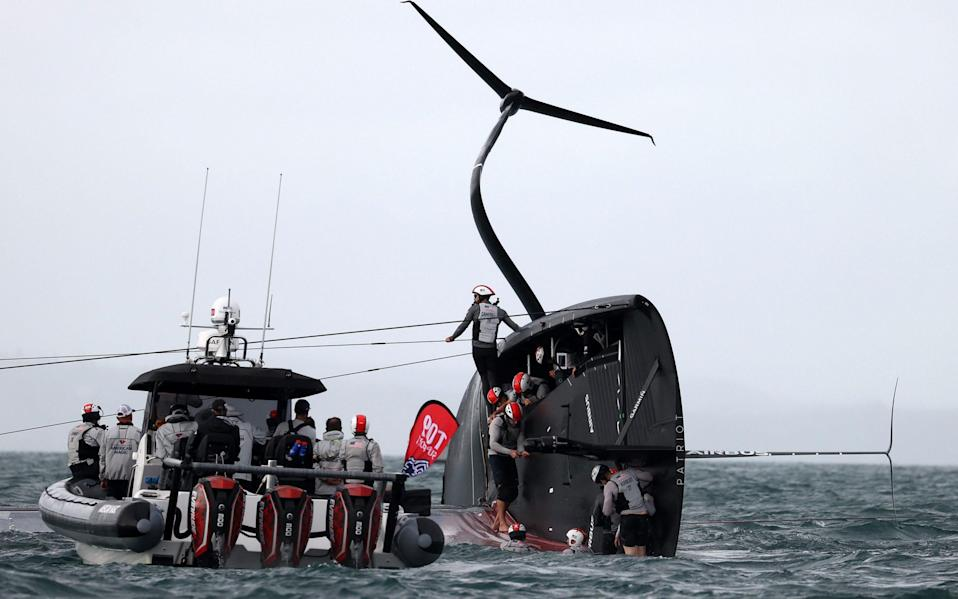 American Magic capsizes in race two against Prada Luna Rossa during the 2021 PRADA Cup Round Robins on Auckland Harbour on January 17, 2021 in Auckland, New Zealand - Getty Images