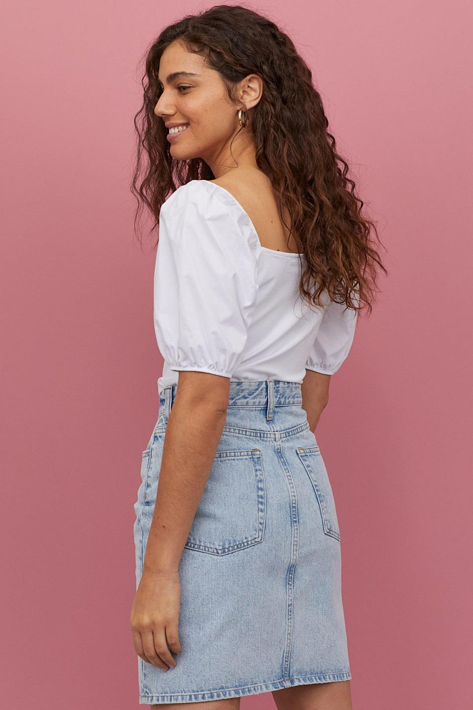 "<p>This <a href=""https://www.popsugar.com/buy/HampM-Denim-Skirt-581999?p_name=H%26amp%3BM%20Denim%20Skirt&retailer=www2.hm.com&pid=581999&price=25&evar1=fab%3Aus&evar9=35329485&evar98=https%3A%2F%2Fwww.popsugar.com%2Ffashion%2Fphoto-gallery%2F35329485%2Fimage%2F47550205%2FHM-Denim-Skirt&list1=shopping%2Cdenim%2Csummer%20fashion%2Cfashion%20shopping&prop13=mobile&pdata=1"" class=""link rapid-noclick-resp"" rel=""nofollow noopener"" target=""_blank"" data-ylk=""slk:H&amp;M Denim Skirt"">H&amp;M Denim Skirt</a> ($25) is at the top of our wish list.</p>"