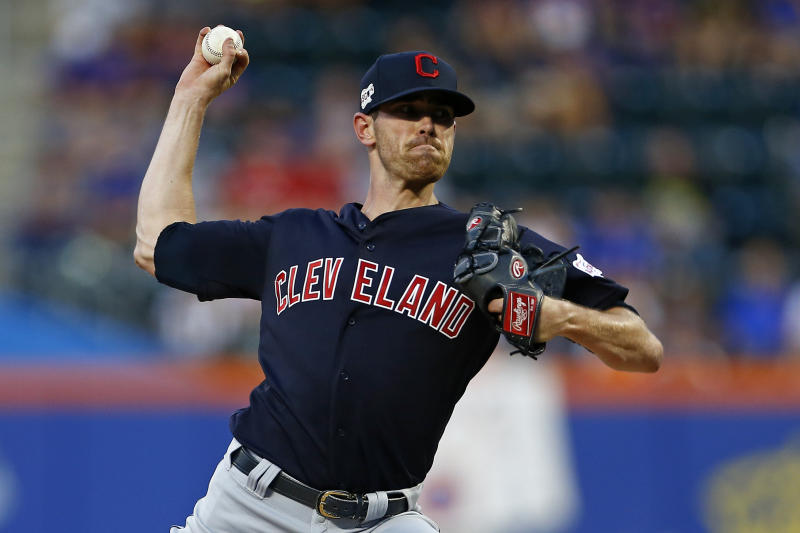 Aug 20, 2019; New York City, NY, USA; Cleveland Indians pitcher Shane Bieber (57) pitches against the New York Mets during the first inning at Citi Field. Mandatory Credit: Adam Hunger-USA TODAY Sports