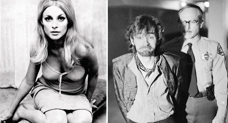 A split image shows Sharon Tate leaning towards the camera (left). And Charles Manson smirks while being taken into custody by police in 1970 (right).