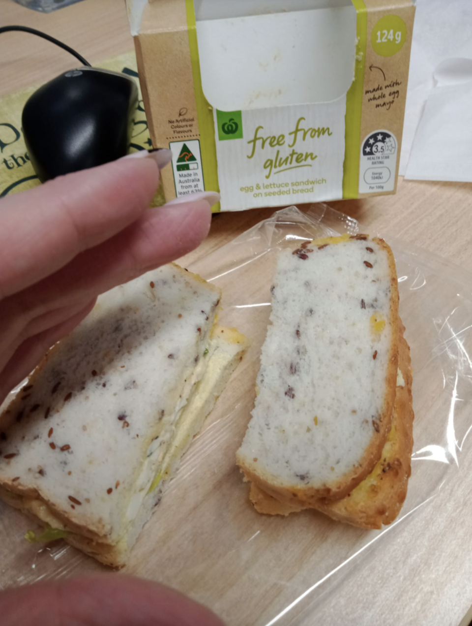 Woolworths' gluten free egg and lettuce sandwich.