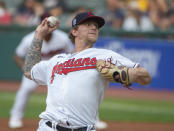 Cleveland Indians starting pitcher Zach Plesac delivers against the Milwaukee Brewers during the first inning of a baseball game in Cleveland, Saturday, Sept. 11, 2021. (AP Photo/Phil Long)
