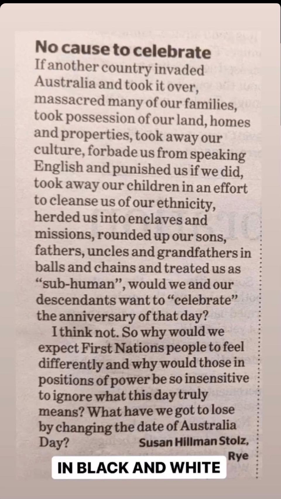 The letter was about why we shouldn't celebrate Australia Day on January 26. Photo: Instagram/Pip Edwards