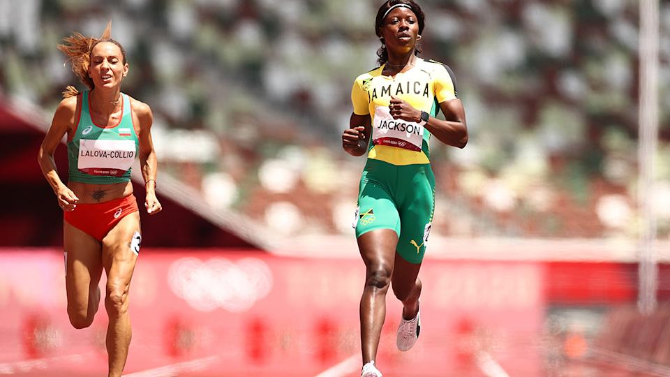Shericka Jackson, pictured here in action during the 200m heats at the Olympics.