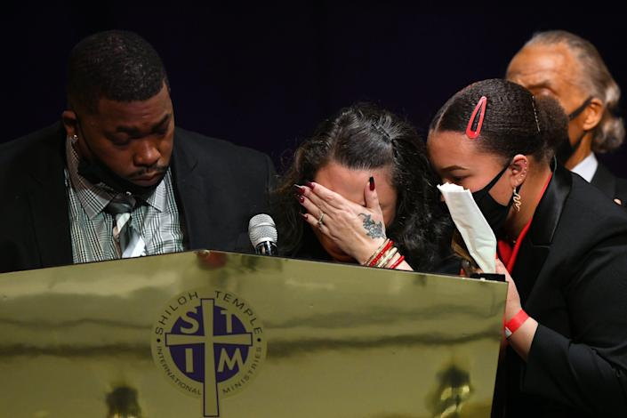 Daunte Wright's parents, Aubrey and Katie Wright, and sister, Diamond, at his funeral on April 22, 2021, in Minneapolis.