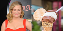 """<p>Overachiever Amy Poehler not only worked as an ice cream scooper at her local parlor, Chadwick's, but wrote an entire essay about it for <em><a href=""""https://www.newyorker.com/magazine/2013/10/14/take-your-licks"""" rel=""""nofollow noopener"""" target=""""_blank"""" data-ylk=""""slk:The New Yorker"""" class=""""link rapid-noclick-resp"""">The New Yorker</a></em>. """"Hard and physical, the job consisted of stacking and wiping and scooping and lifting,"""" she wrote. """"Every time a customer was celebrating a birthday, an employee had to bang a drum that hung from the ceiling, and play the kazoo, and encourage the entire restaurant to join him or her in a sing-along.""""</p>"""