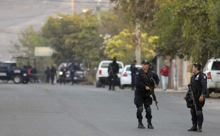 Federal Police on January 11, 2015 in the Apatzingan community (AFP Photo/Alfredo Estrella)