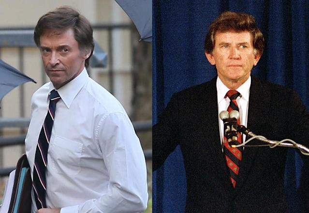 "Hugh Jackman (left) plays Senator Gary Hart (right) in his new film ""The Front Runner."" The 48-year-old actor is spotted in costume while on set in Atlanta. (Photo: Backgrid/AP Images)"