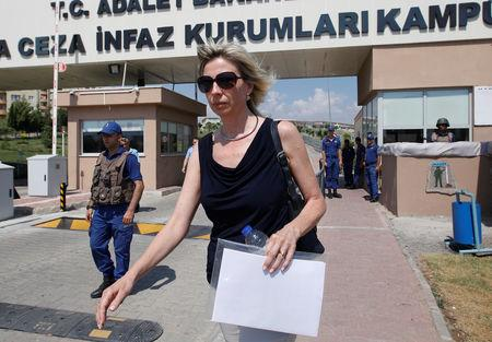 FILE PHOTO: Jailed U.S. pastor Andrew Brunson's wife Norine Brunson leaves from Aliaga Prison and Courthouse complex in Izmir, Turkey July 18, 2018. REUTERS/Kemal Aslan/File Photo