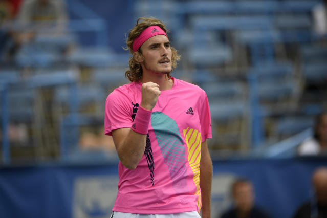 Stefanos Tsitsipas, of Greece, reacts during a match against David Goffin, of Belgium, during the Citi Open tennis tournament, Friday, Aug. 3, 2018, in Washington. (AP Photo/Nick Wass)