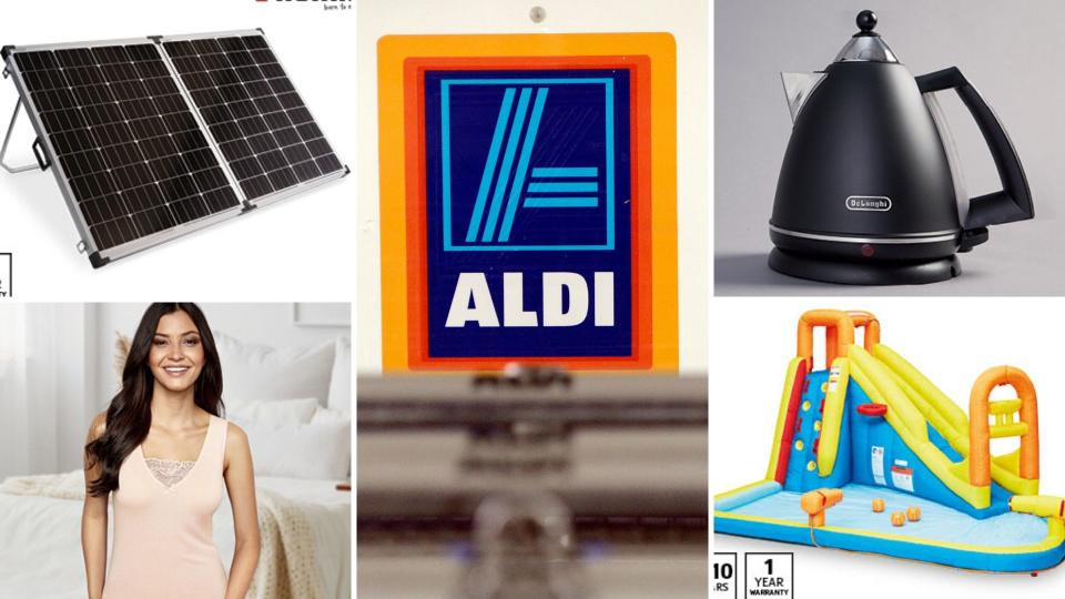 A sample of Aldi's specials this week, including solar panels, Delonghi kettle, children's water park and women's underwear.