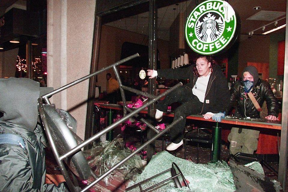 <p>Starbucks became the focus of protesters in 2009, as they rallied in Seattle during the World Trade Organization Summit. The brand was seen as the poster child for corporations and mass consumption and was vandalized by anti-WTO activists. </p>