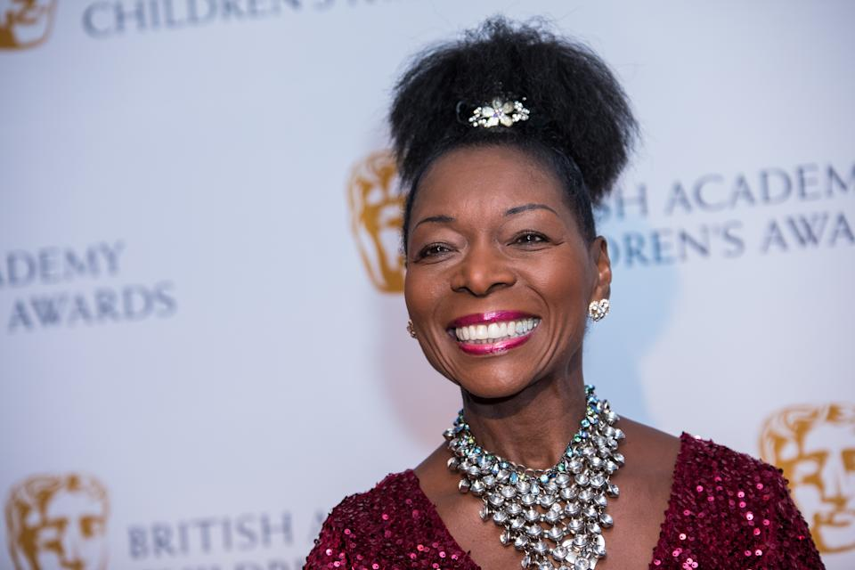 Floella Benjamin poses for photographers upon arrival at the BAFTA Children's awards, in London, Sunday, Nov. 20, 2016. (Photo by Vianney Le Caer/Invision/AP)