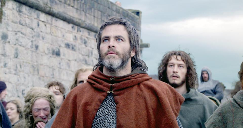 """<p><strong>Outlaw King</strong> is a true story starring <a class=""""link rapid-noclick-resp"""" href=""""https://www.popsugar.com/Chris-Pine"""" rel=""""nofollow noopener"""" target=""""_blank"""" data-ylk=""""slk:Chris Pine"""">Chris Pine</a> as Robert the Bruce, otherwise known as the """"outlaw king."""" The adventure film takes place in 14th century Scotland, where Robert the Bruce fights to get his country's independence back from England. </p> <p><a href=""""http://www.netflix.com/title/80190859"""" class=""""link rapid-noclick-resp"""" rel=""""nofollow noopener"""" target=""""_blank"""" data-ylk=""""slk:Watch Outlaw King on Netflix now."""">Watch <strong>Outlaw King</strong> on Netflix now.</a></p>"""