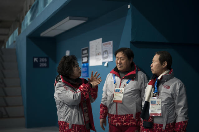Sohn Yang Young, right, and Lee Gyeong Pil, center, talk with Ock Junghee after arriving in the Gangneung Curling center at the 2018 Winter Olympics in Gangneung, South Korea, Saturday, Feb. 24, 2018. Sohn and Lee were among five babies born on an American ship that ferried thousands of Korean refugees from North Korea during the Korean War. Nicknamed by U.S. crew as Kimchi 1 through Kimchi 5, theyve become a symbol of the South Korea-U.S. military alliance. Sohn, Kimchi 1, and Lee, Kimchi 5, were in Gangneung to volunteer for the Olympics as part of their efforts to promote peace and remind younger generations of the lessons of the Korean War. (AP Photo/Felipe Dana)