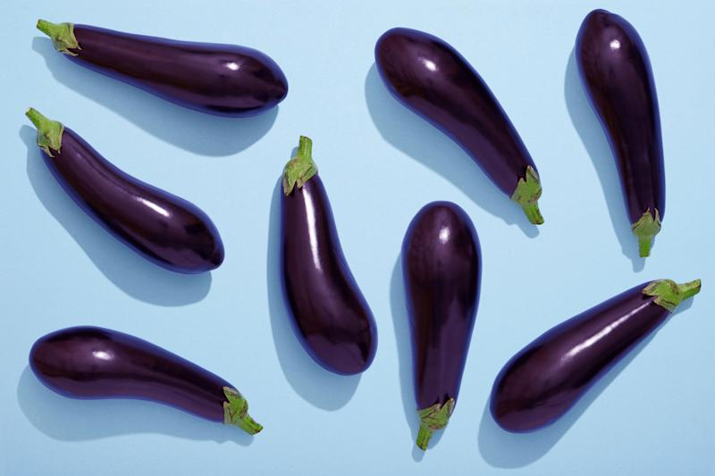 Eggplant, vegetable, Ripe, flat lay, healthy eating (Photo: melecis via Getty Images)