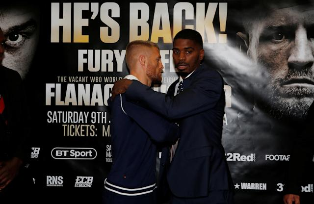 Boxing - Terry Flanagan & Maurice Hooker Press Conference - Crowne Plaza, Manchester, Britain - June 7, 2018 Terry Flanagan and Maurice Hooker go head to head after the press conference Action Images via Reuters/Craig Brough