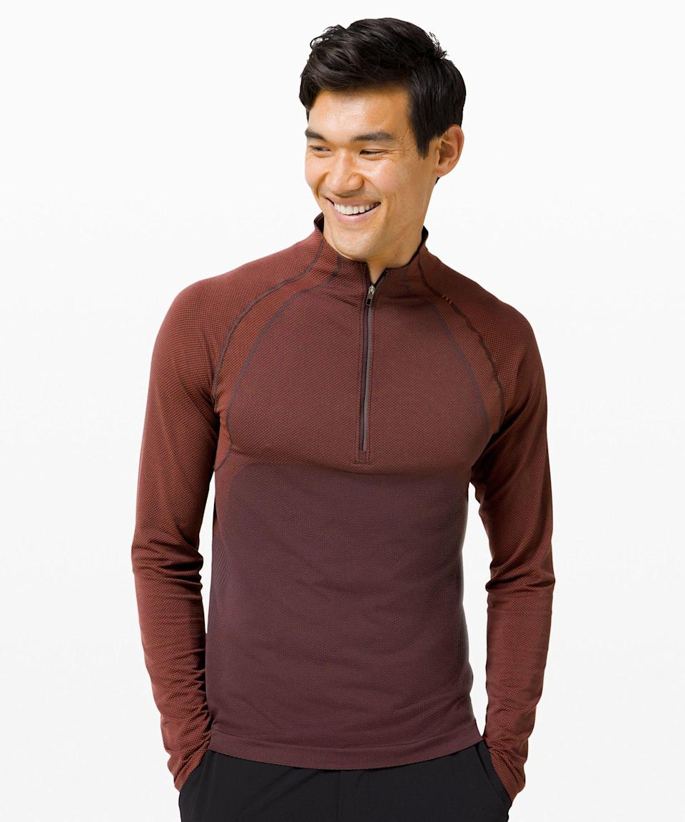 """<p><strong>Lululemon</strong></p><p>lululemon.com</p><p><a href=""""https://go.redirectingat.com?id=74968X1596630&url=https%3A%2F%2Fshop.lululemon.com%2Fp%2Fmen-ls-tops%2FMetal-Vent-Tech-Half-Zip-Two-MD%2F_%2Fprod9661024&sref=https%3A%2F%2Fwww.menshealth.com%2Fstyle%2Fg33980752%2Flululemon-sale-we-made-too-much-mens-deals%2F"""" rel=""""nofollow noopener"""" target=""""_blank"""" data-ylk=""""slk:BUY IT HERE"""" class=""""link rapid-noclick-resp"""">BUY IT HERE</a></p><p><del>$98.00</del><strong><br>$49.00</strong></p><p>The top layer is ideal for your outdoor runs this fall with breathable mesh construction and a smooth texture that won't cause chaffing. Oh, and it's made with recycled polyester, making it an eco-friendly guilt-free purchase.</p>"""