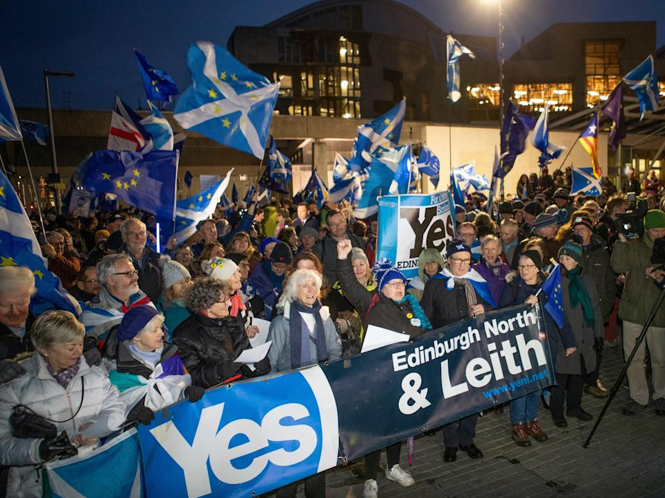 Independence supporters stage protest outside Scottish parliament last yearPA