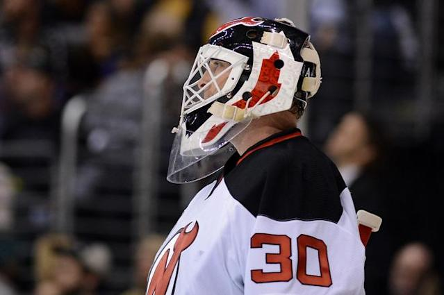 LOS ANGELES, CA - JUNE 11: Goaltender Martin Brodeur #30 of the New Jersey Devils looks on during Game Six of the 2012 Stanley Cup Final against the Los Angeles Kings at Staples Center on June 11, 2012 in Los Angeles, California. (Photo by Harry How/Getty Images)